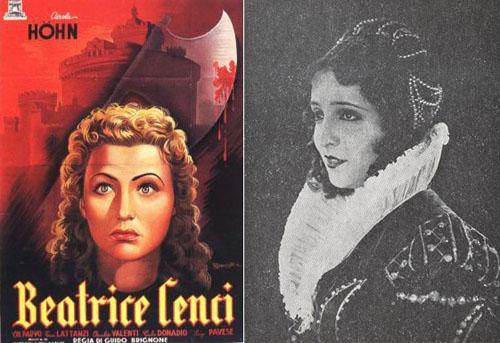 """Афиша фильма """"Беатриче Ченчи"""" (1941 г), Мария Джакобини в роли Беатриче"""