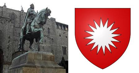 Статуя Раймонда Беренджера (одного из представителей рода) и фамильный герб Де Бо