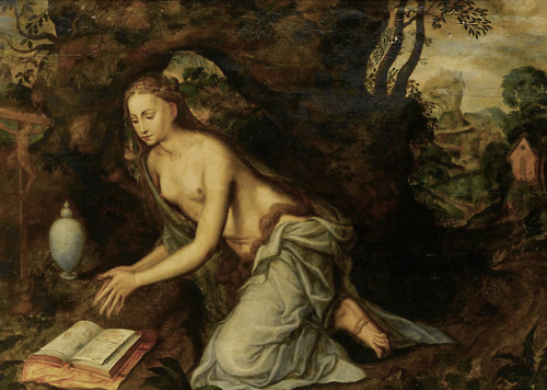 """""""Мария Магдалина в пещере с сосудом и книгой"""", художник Ян Массейс."""