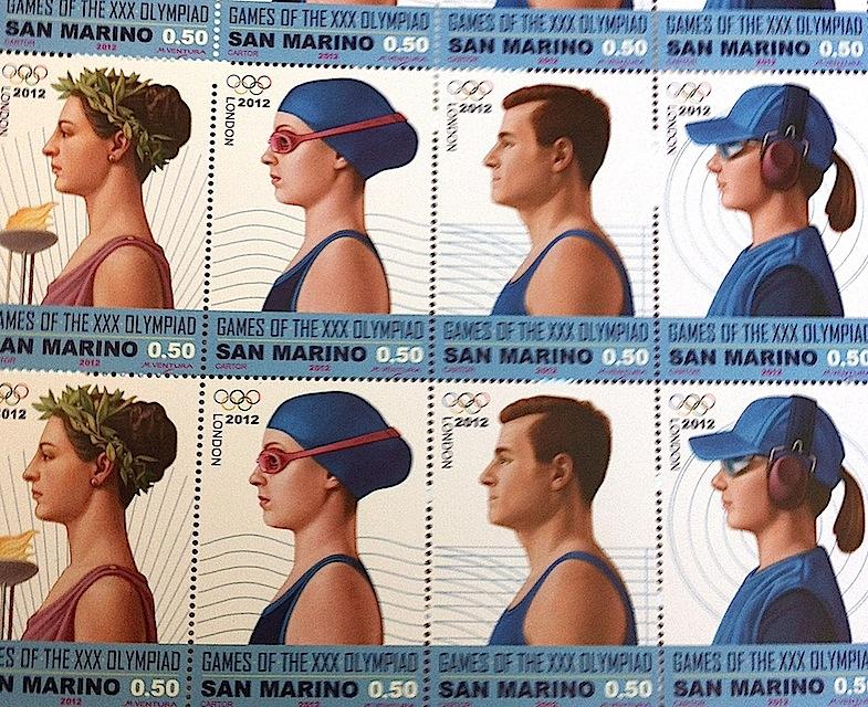 марка Сан-Марино с изображением олимпийской сборной страны