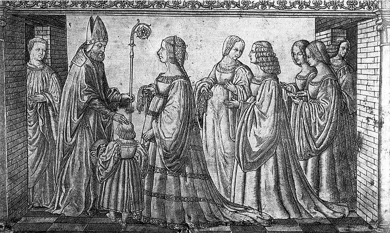 серебряная гравюра с изображением Лукреции Борджиа и ее сына
