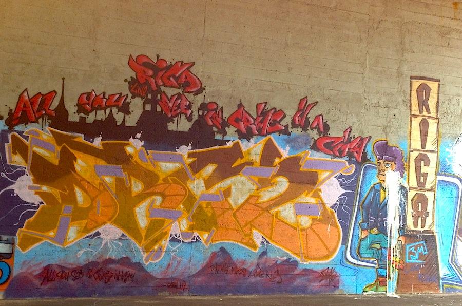 Улица Лачплиша туннель Мазакраста, граффити
