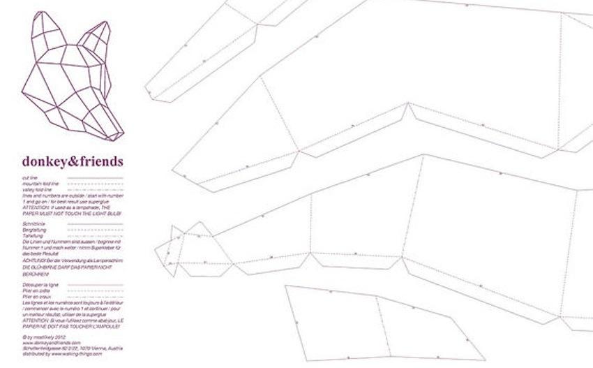 схема, по которой складывается абажур в виде головы лисы.