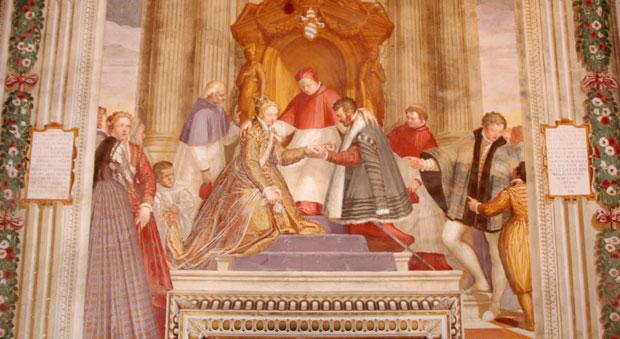 Фреска, иллюстрирующая женитьбу одного из членов семейства Обицци