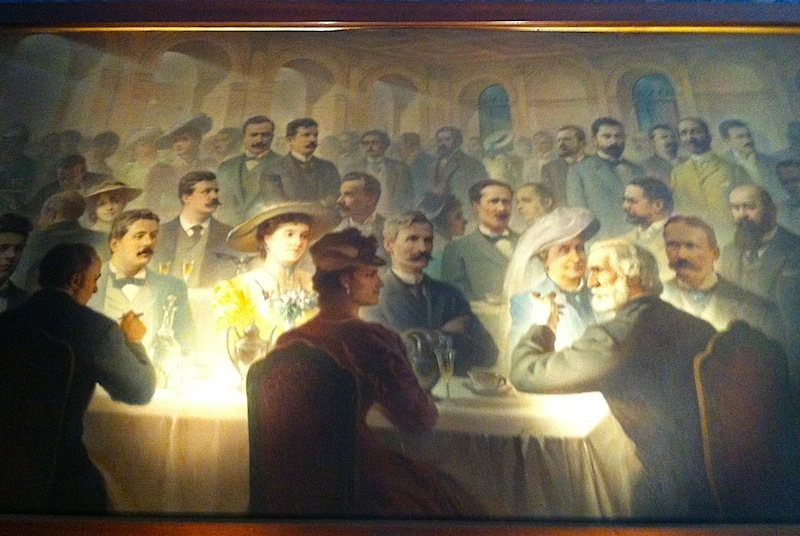 Верди в компании знаменитых соотечественников, картина в музее Буссето