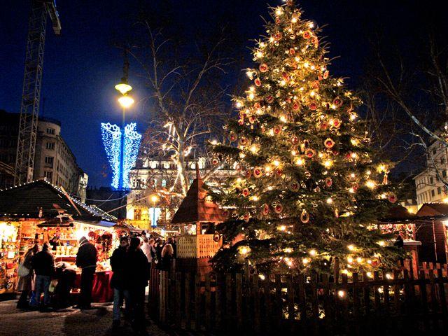 елка в центре площади Будапешта