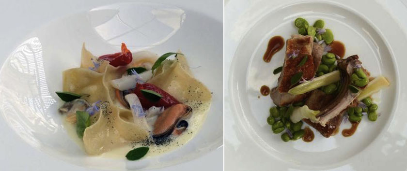 равиоли с морепродуктами,  ягненок с овощами
