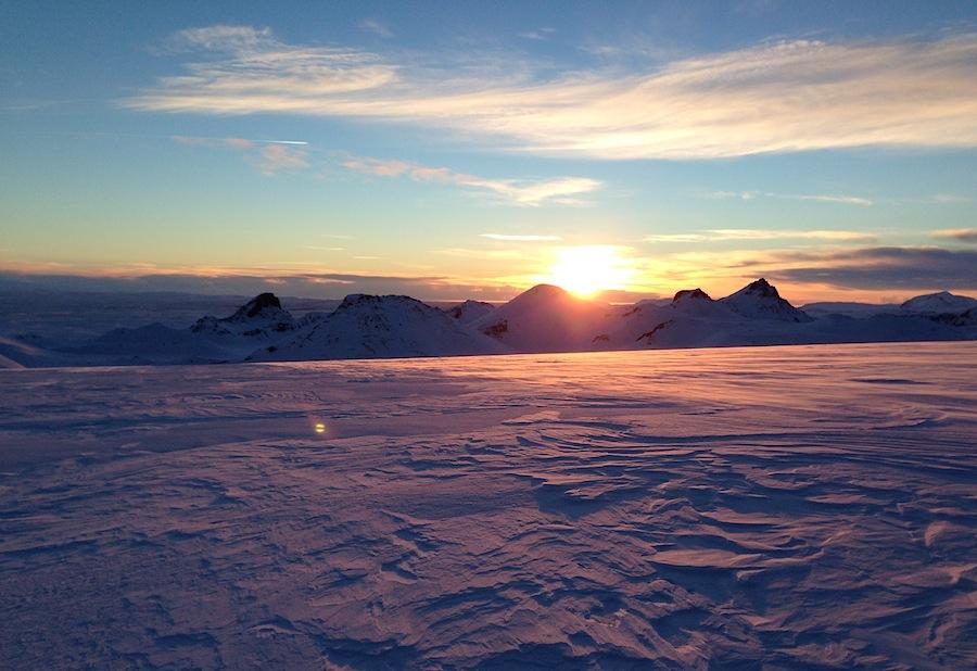 закат на леднике Лаунгйёкудль
