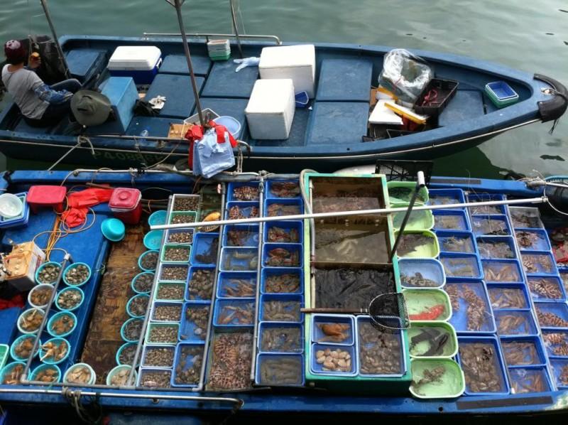 свежайшие морепродукты в лодке