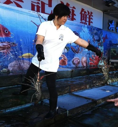 Sai Kung аквариумы у рыбных ресторанов