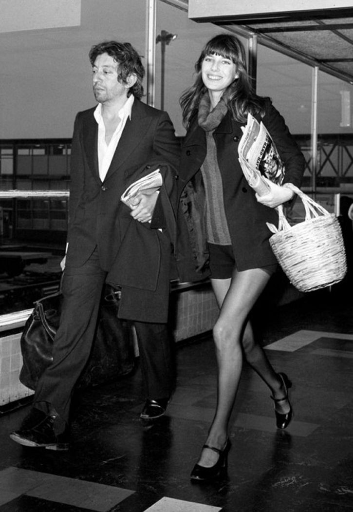 Serge Gainsbourg & Jane Birkin arrive at Heathrow Airport , 1971.