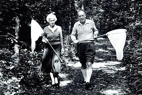 Набоков с женой идет охотиться на бабочек
