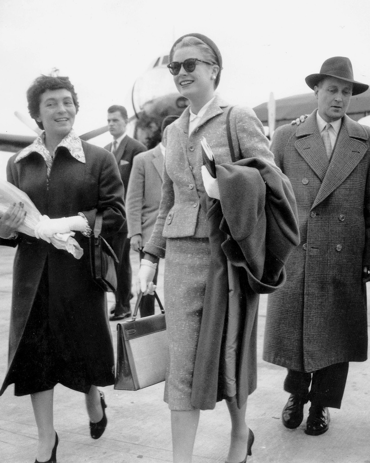 Grace Kelly with Chanel Suit, Holding Hermes Hand Bag, at Orly Airport Photo