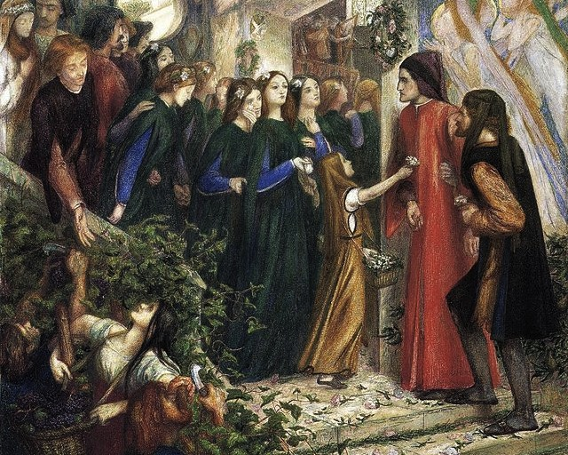 "Данте Габриэль Россетти, картина ""Встреча Данте и Беатриче на свадебном пиру"""