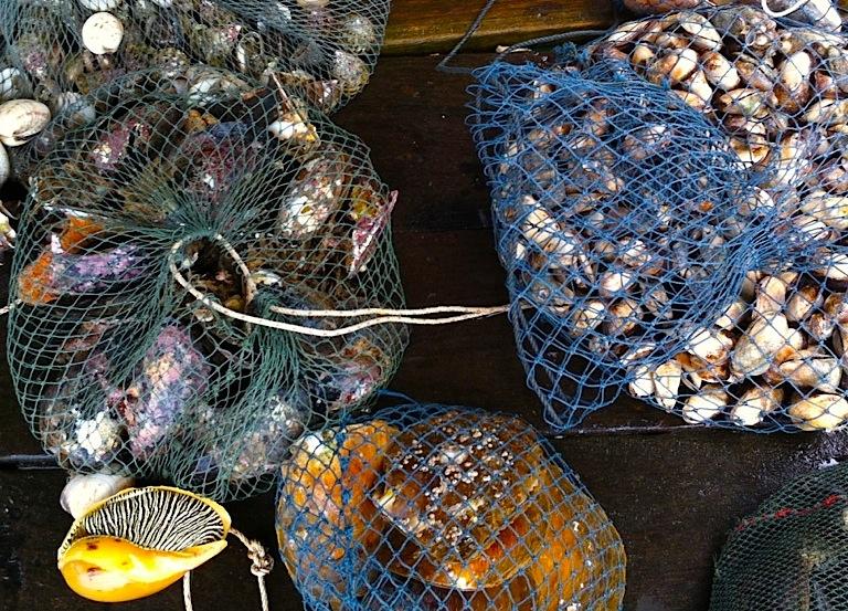 морепродукты в плавающем рыбном магазине на Фукуоке