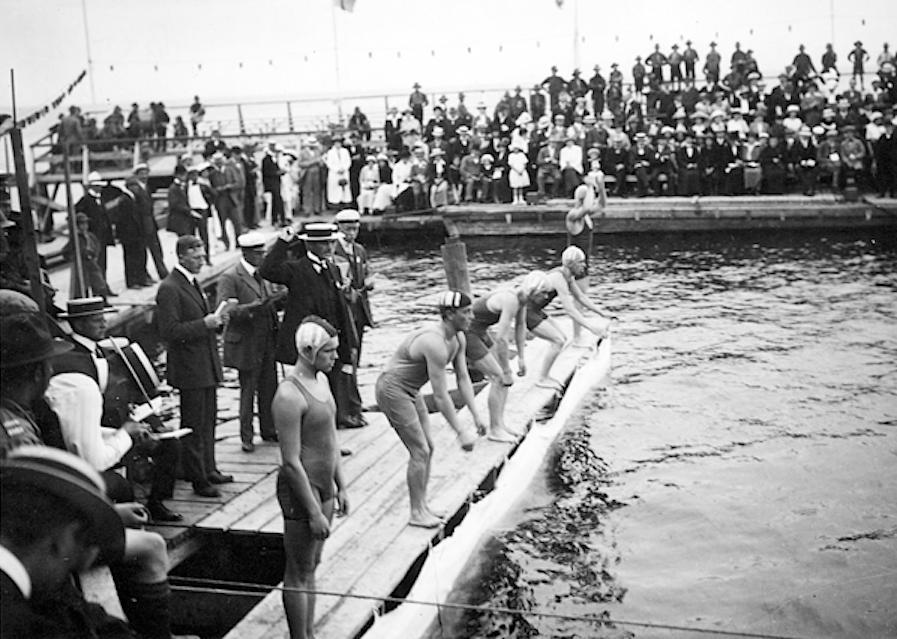 исторический кадр, купание в Ribersborg