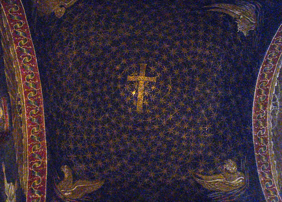 мозаика, изображающая звездное небо, купол мавзолея Галлы Плацидии