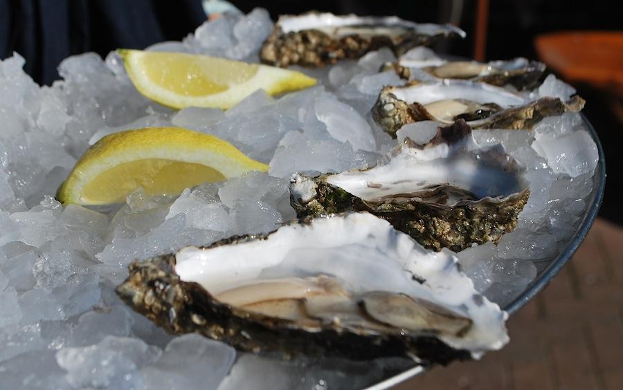 устрицы во льду в уличном ресторане Oban Seafood Hu