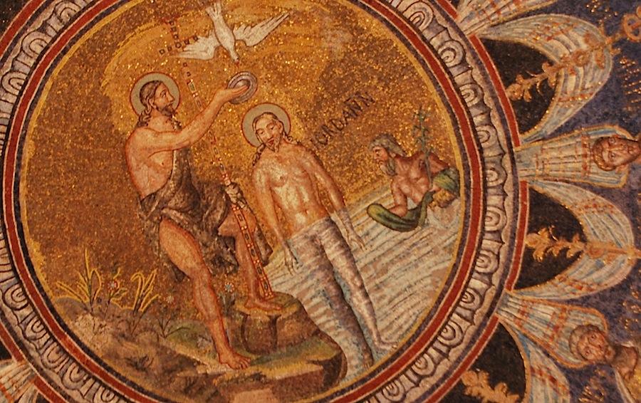 Крещение Христа - мозаика в Неоновом баптистерии, Равенна