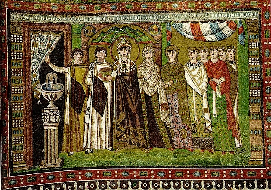 императрица Феодора со свитой, мозаика, Сан-Витале, Равенна