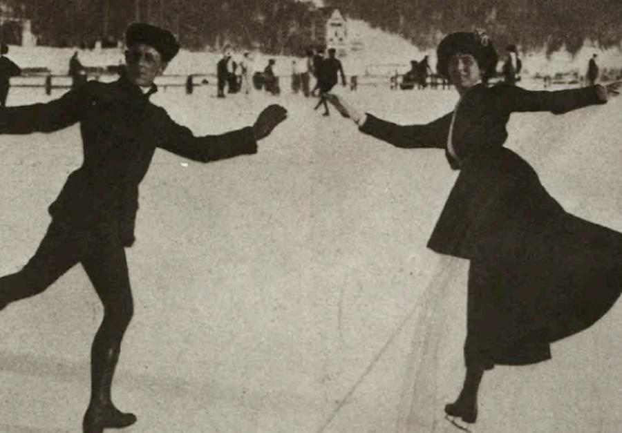 пара англичан катается в Швейцарии, 1911 год