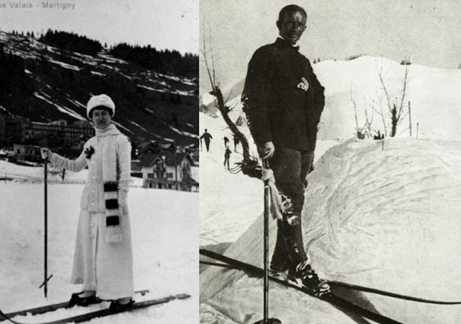 женский и мужской лыжные костюмы, 1900-1910 года