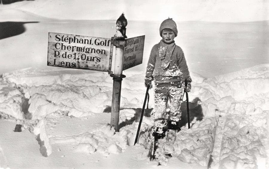 ребенок в Кран-Монтана, горные лыжи