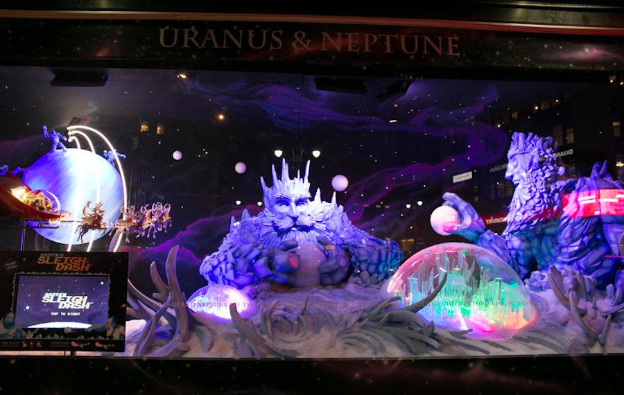 уран и нептун в витрине Macy's, Рождество, Нью-Йорк