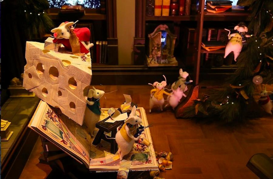 мыши, рождество, витрины