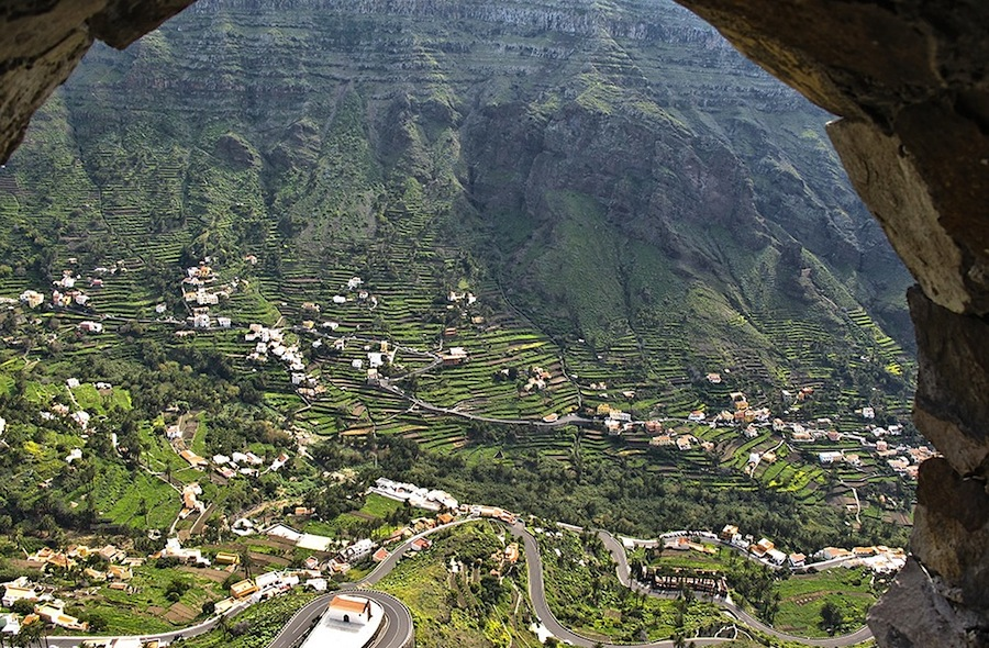 Вид на долину Valle Gran Rey, Ла Гомера