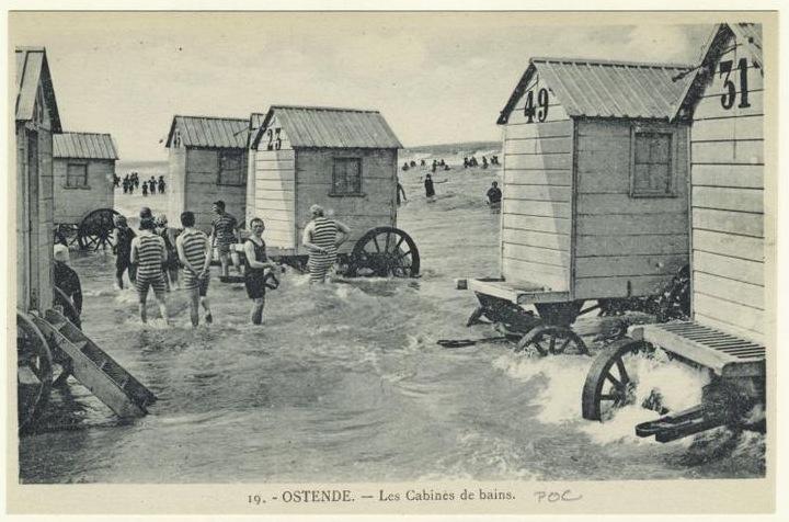 купальные машины в Остенде, 1900 год