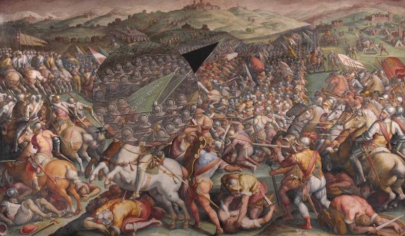 """фреска Джорджо Вазари """"Битва при Марчано"""", """"Cerca Trova"""" (Ищи и найдешь), Инферно Дэна Брауна,"""