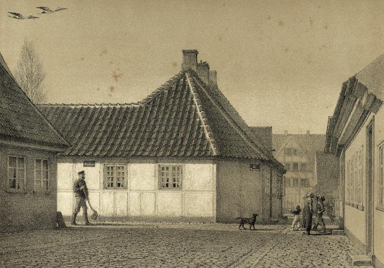 старинная гравюра с изображением дома Андерсена