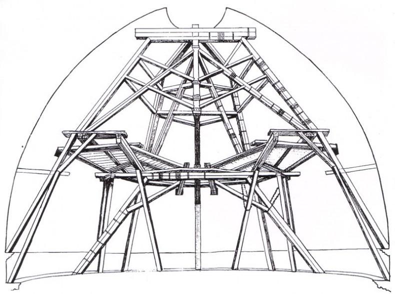 На фото: структура купола Брунеллески