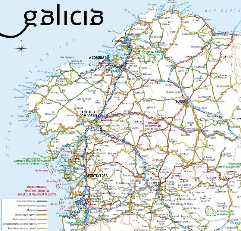 карта региона Галисия