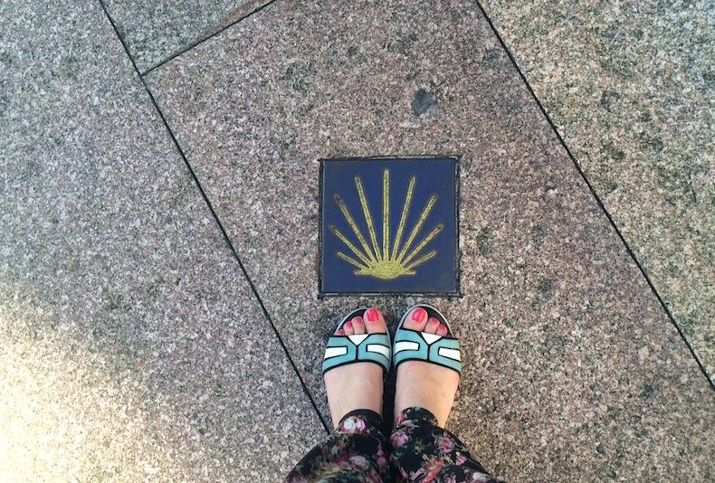 ракушка - символ Пути Сантьяго на улице города Оренсе