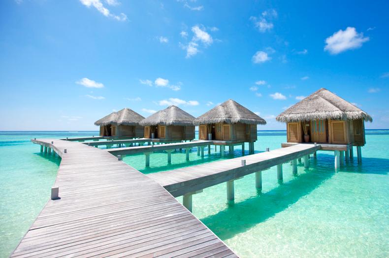 домики для спа-процедур на берегу океана, Мальдивы