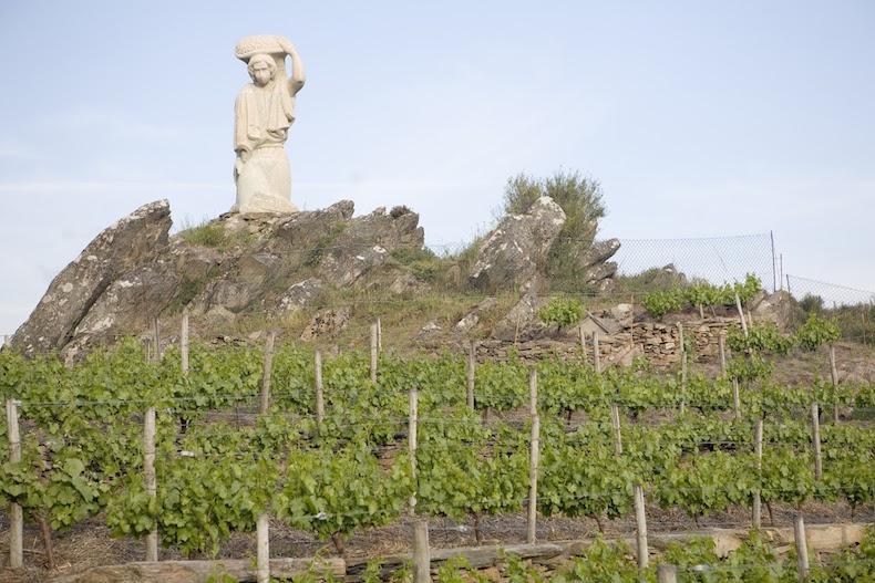 D.O._Ribara_Sacra памятник сборщику винограда в районе Рибейра Сакра