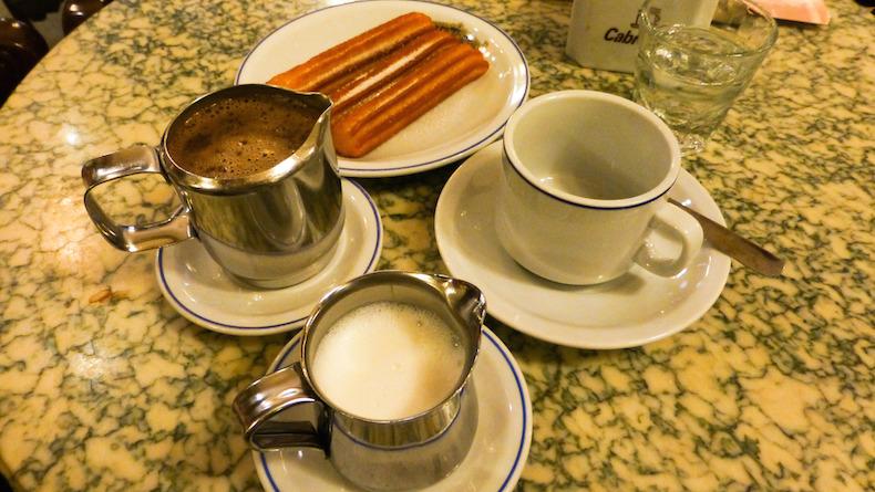 горячий шоколад с чуррос в кафе Tortoni