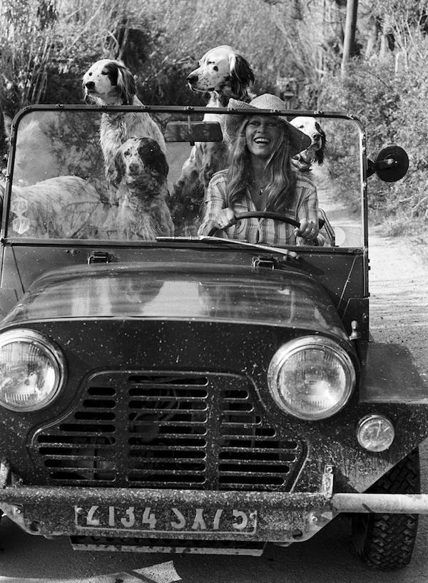 Brigitte Bardot in her Austin Mini Moke, Saint-Tropez, 1960s