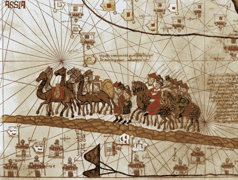 Страница Каталанского атласа изображающий путешествие Марко Поло на Восток в период Монгольского мира