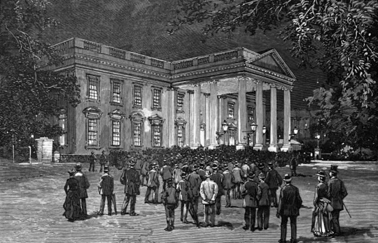 на фото: гравюра первая брачная ночб президента  Стивена Гровера Кливленда