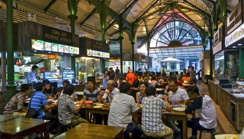 рынок Lau Pa Sat в Сингапуре