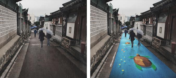 улица Сеула, рисунки на улицах