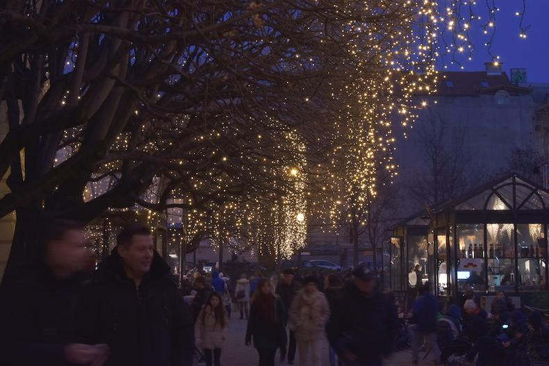 рождественские огни на площади имени короля Томислава