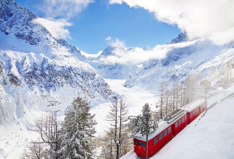 Шамани, поезд, французские альпы