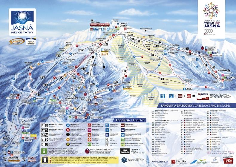 карта лыжных трасс в Ясна