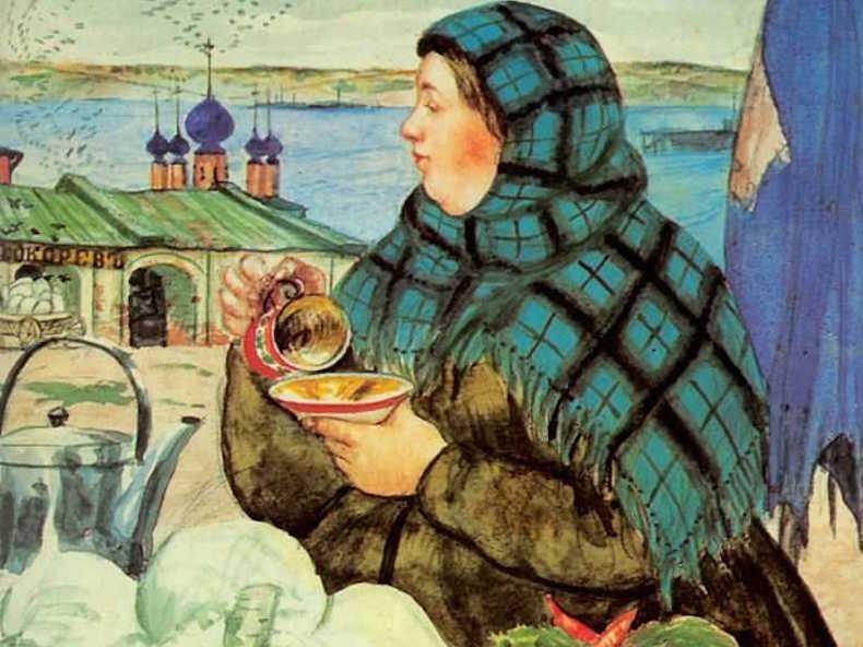"""фрагмент картины Кустодиева """"Торговка овощами"""""""