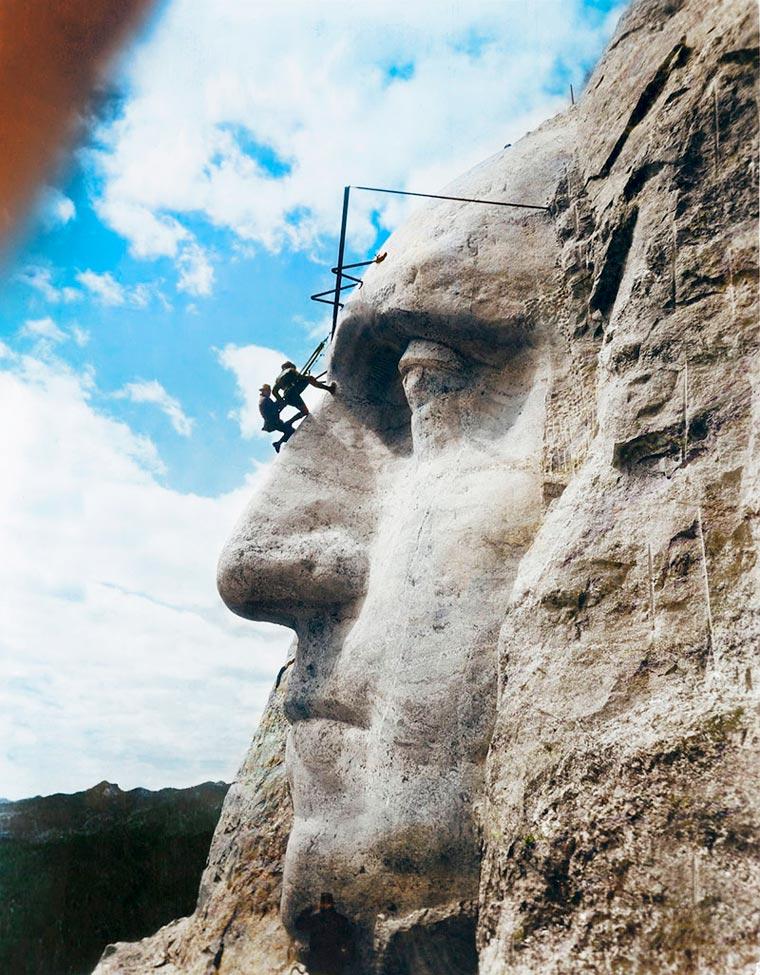 Создание скульптуры Джорджа Вашингтона на горе Рашмор