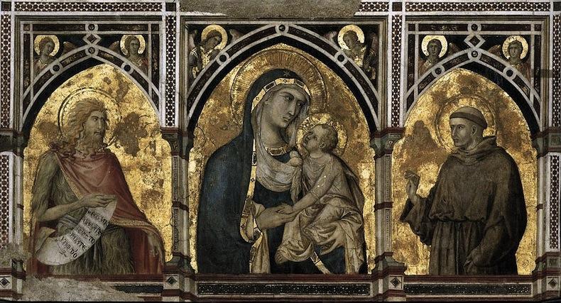 Мадонны с младенцем между Иоанном Крестителем и Святым Франциском работы Пьетро Лоренцетти